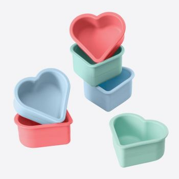 Lurch Flexiform set of 6 silcone muffinmolds heart pink and blue