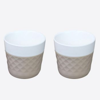 Cookut Lola set of 2 porcelain coffee cups taupe 125ml