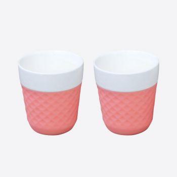 Cookut Lola set of 2 porcelain tea mugs pink 200ml