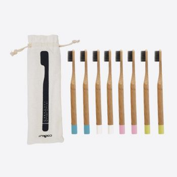 Cookut Bam Bam set of 8 bamboo tooth brushes pink; white; blue and green (12pcs/disp.)