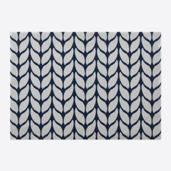Day Drap non-slip placemat from recycled cotton Soft Wool blue and grey 45x32cm