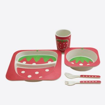 Dotz Kids set with plate; bowl; cup and cutlery in bamboo fiber Strawberry