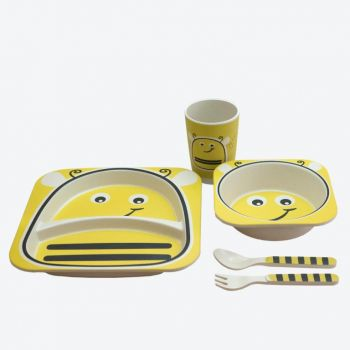 Dotz Kids set with plate; bowl; cup and cutlery in bamboo fiber Bumblebee versie 2