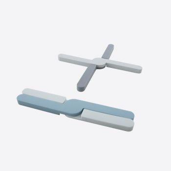 Dotz foldable silicone trivet grey or blue 20x3.2x1.1cm (36pcs/disp.)