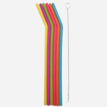 Dotz set of 6 bent silicone drinking straws in different colors with cleaning brush 25cm