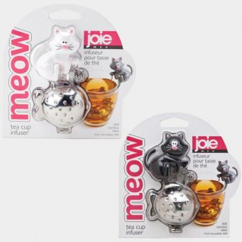Joie Meow stainless steel tea infuser cat black or white 9x6x4.5cm (per 12pcs)