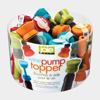 Joie wine pump topper red; orange; green or blue 3.8x3.8x11.4cm (24pcs/disp.)