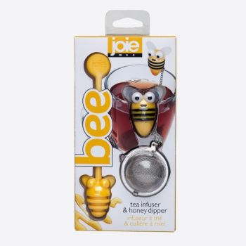 Joie Bee stainless steel tea infuser and honey dipper yellow