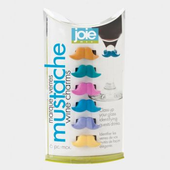 Joie set of 6 glass markers mustache