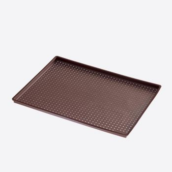 Lékué rectangular perforated pizza mat in silicone brown 40x30x0.2cm