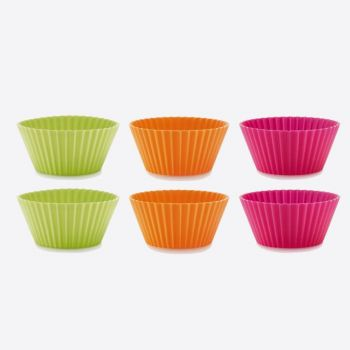 Lékué set of 6 ribbed silicone muffin molds orange; green and pink Ø 7cm H 3.5cm