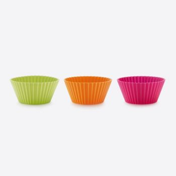 Lékué set of 6 ribbed silicone muffin molds pink; orange and green Ø 7cm H 3.5cm