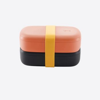 Lékué double lunchbox in plastic with silicone band black and pink 1L