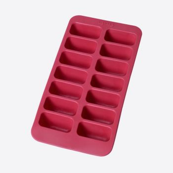 Lékué rubber ice cube tray for 14 rectangular ice cubes red 22x11x3.5cm