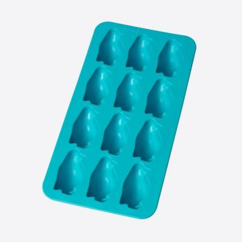 Lékué rubber ice cube tray for 12 ice cubes penguin blue 22x11x3.5cm