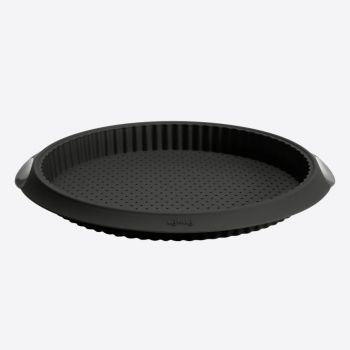 Lékué ribbed silicone tart/quiche pan with holes black Ø 28cm H 3.2cm