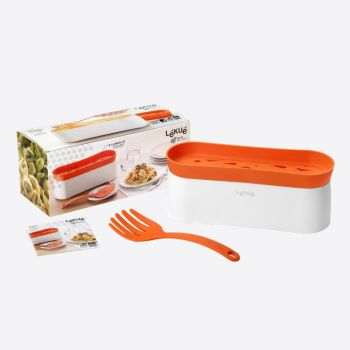 Lékué pastacooker for microwave and spaghettispoon in silicone and plastic white and orange 28x11x11.2cm