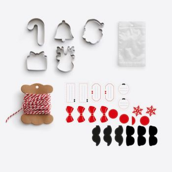 Lékué set for Christmascookies with 5 cookie cutters; 20 plastic bags; rope and stickers