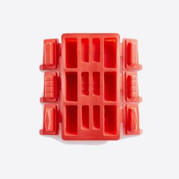Lékué baking mold for 6 rectangular mini buches in silicone red 29x17x3.8
