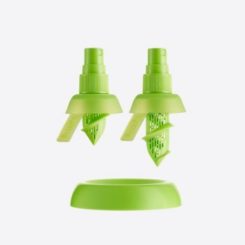 Lékué set of 2 citrus sprays for lime and lemons green Ø 4.3cm H 7.5cm and H 9.5cm