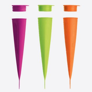 Lékué set of 3 ice cream shapes calippo in silicone green; pink and orange 4x4.8x20.2cm