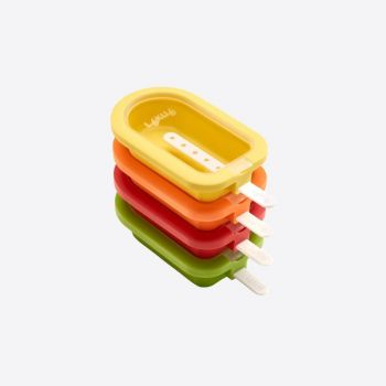 Lékué set of 4 mini ice cream shapes in silicone and plastic red; orange; yellow and green 10.5x6.5x2.6cm