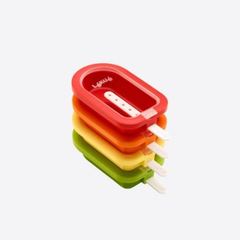 Lékué set of 4 ice cream shapes in silicone and plastic red; orange; yellow and green 16.5x7.5x2.6cm