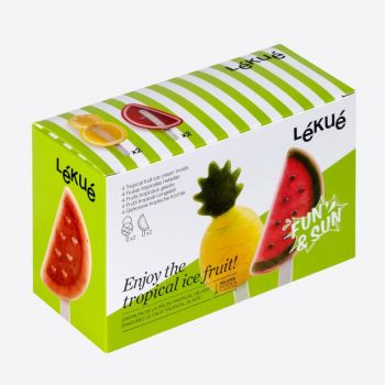 Lékué set of 4 ice cream shapes in silicone and plastic pineapple and watermellon
