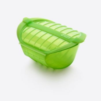 Lékué steam case for microwave for 3-4 persons in silicone green 26x19x11.5cm