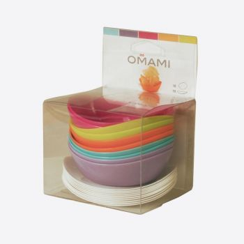 Omami set in 2 colours of plate & 10x deep plate in 5 colours
