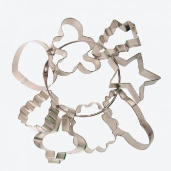 Point-Virgule set of 8 tin plated metal cookie cutters 7.2x6.6x1.9cm