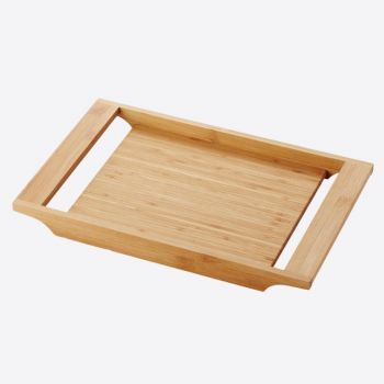 Point-Virgule bamboo serving tray with handles by Mathias De Ferm 34x22x3cm