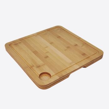 Point-Virgule bamboo cutting board with groove dishwasher safe 35x35x2.5cm