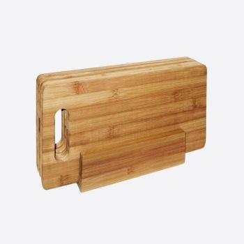 Point-Virgule bamboo 4 breakfast boards in holder 29x16cm