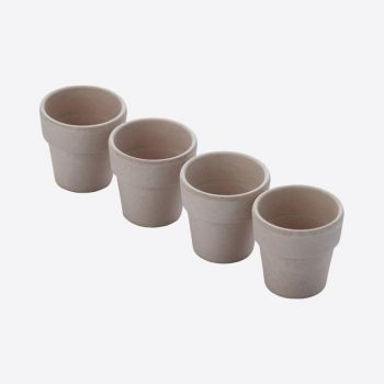 Point-Virgule set of 4 bamboo fiber egg cups cement grey