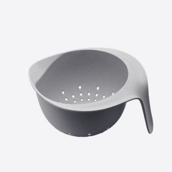 Point-Virgule bamboo fiber colander with handle cement grey 22x18x10cm