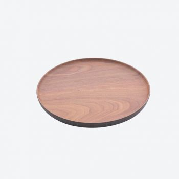 Point-Virgule bamboo fiber round tray with wood look brown and black ø 20.1cm H 1.6cm
