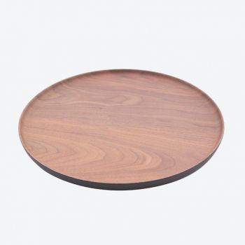 Point-Virgule bamboo fiber round tray with wood look brown and black ø 27.9cm H 1.7cm
