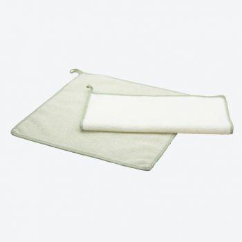 Point-Virgule set of 2 microfiber cloths green and white 30x30cm (per 6pcs)