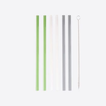 Point-Virgule set of 6 glass drinking straws transparent; grey and green with cleaning brush and pouch 21.5cm