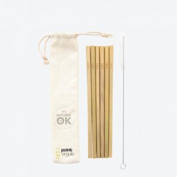 Point-Virgule set of 6 bamboo straws with cleaning brush and pouch 19.5cm