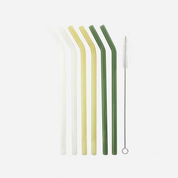 Point-Virgule set of 6 bent glass straws yellow; white and green with brush and pouch 21.5cm