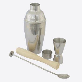 Point-Virgule 4-piece cocktail set with spoon - jigger - muddler & cobbler shaker