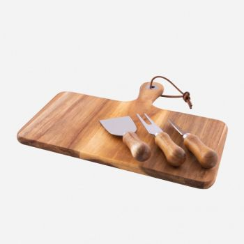 Point-Virgule 4-piece cheese set with knives and acacia wood serving board 29x25x1.4cm