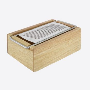 Point-Virgule non-slip stainless steel cheese grater with wooden container 18.2x1.8x7cm