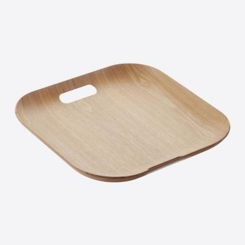 Point-Virgule square serving tray with handles colour of wood 39x39cm