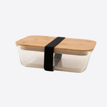 Point-Virgule glass lunch box with bamboo lid 1.1L