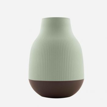 Point-Virgule bamboo fiber vase sage green and dark grey ø 18.1cm H 25cm