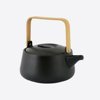 Point-Virgule porcelain teapot with bamboo handle matt black 1L