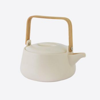 Point-Virgule porcelain teapot with bamboo handle matt white 1L